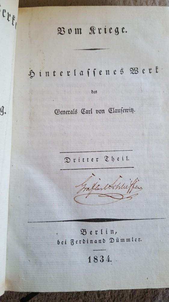 Buch von Carl von Clausewitz - Erstausgabe von 1834